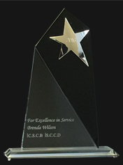 glass award with star